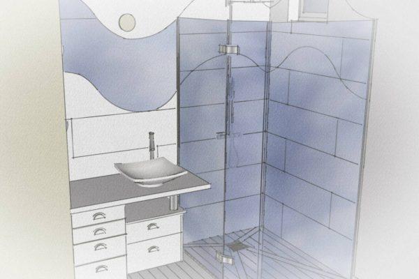Plan en 3D d'une toute petite salle de bains dans une suite parentale.