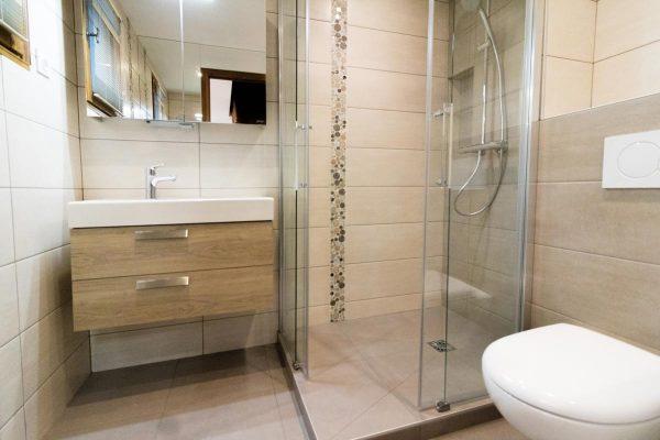 Gain de place : une douche moderne dans une petite salle de bain.