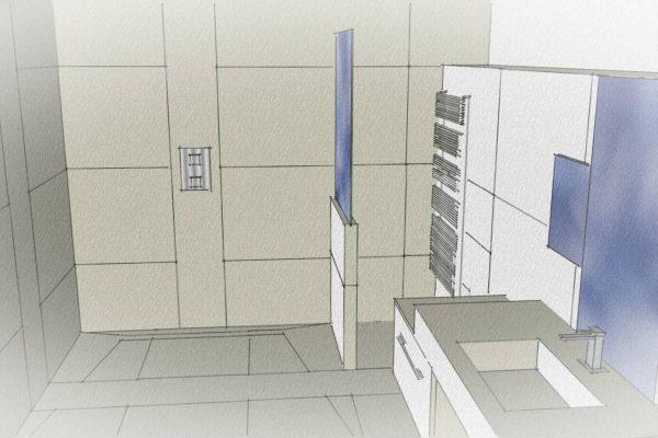 Plan d'une salle de bain en vue d'une rénovation par l'entreprise Ar Interieur à Grenoble.