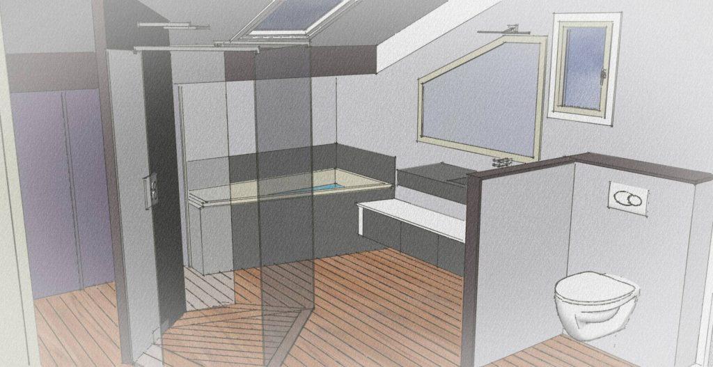 Plan de salle de bain italienne trendy plan existant with for Plan salle de bain douche italienne