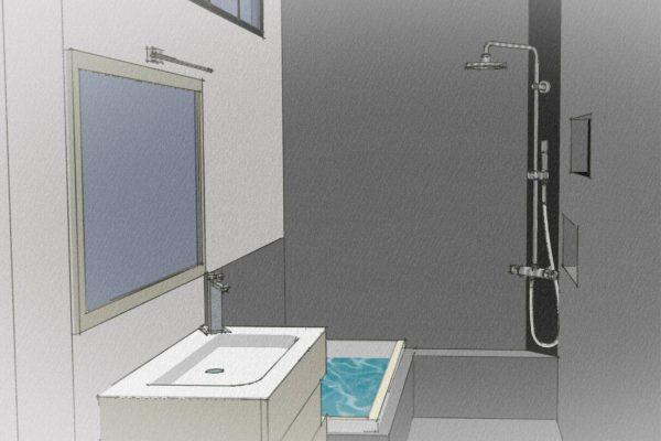 Plan d'une petite salle de bain à Grenoble.