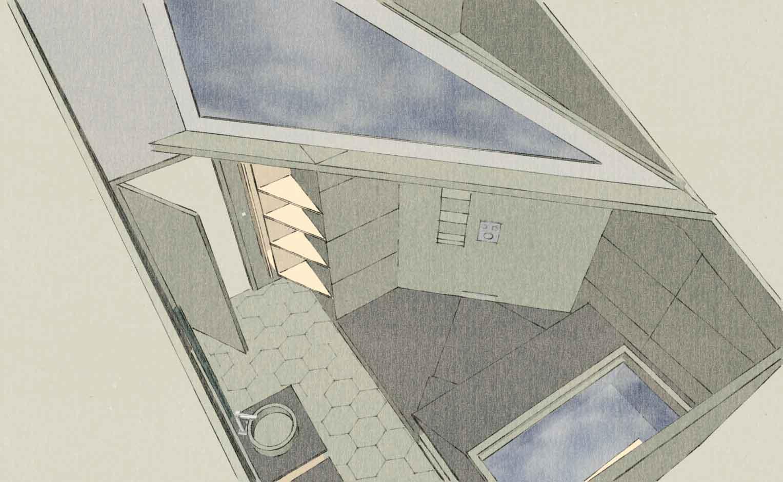plan 3D d'une rénovation de salle de bain très design