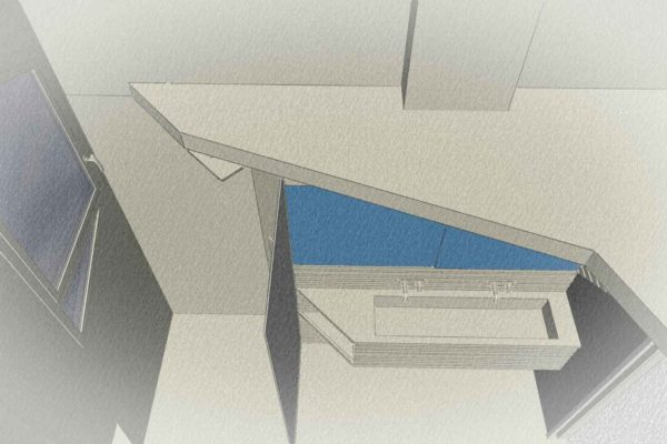 Un plan en 3D d'une rénovation de salle de bains.